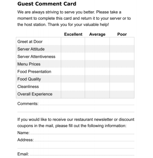 Restaurant Comment Card Template 5974 Card Templates Free Card Template Card Templates