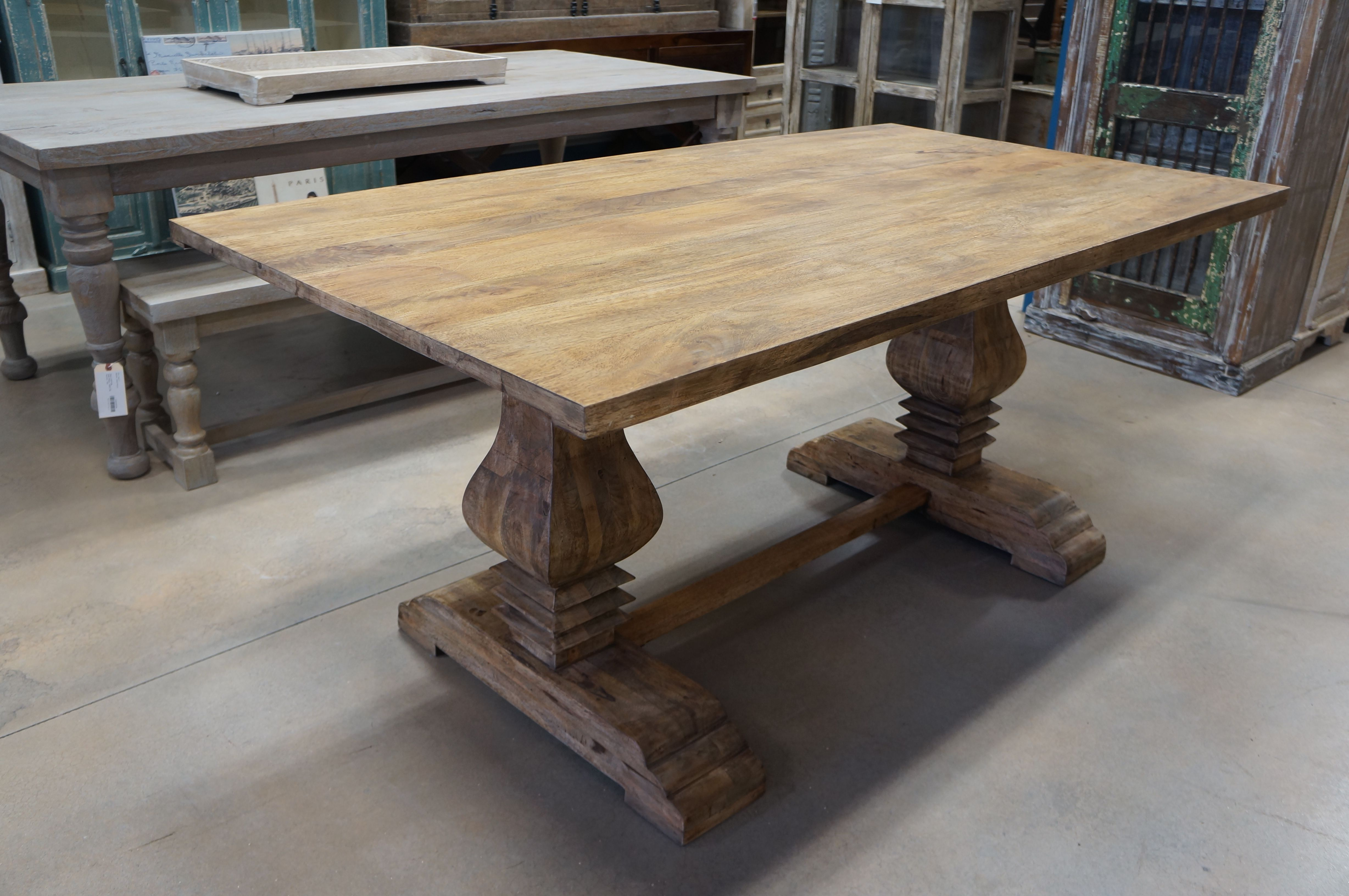 Solid Wood Double Pedestal Dining Table Smooth Hand Crafted