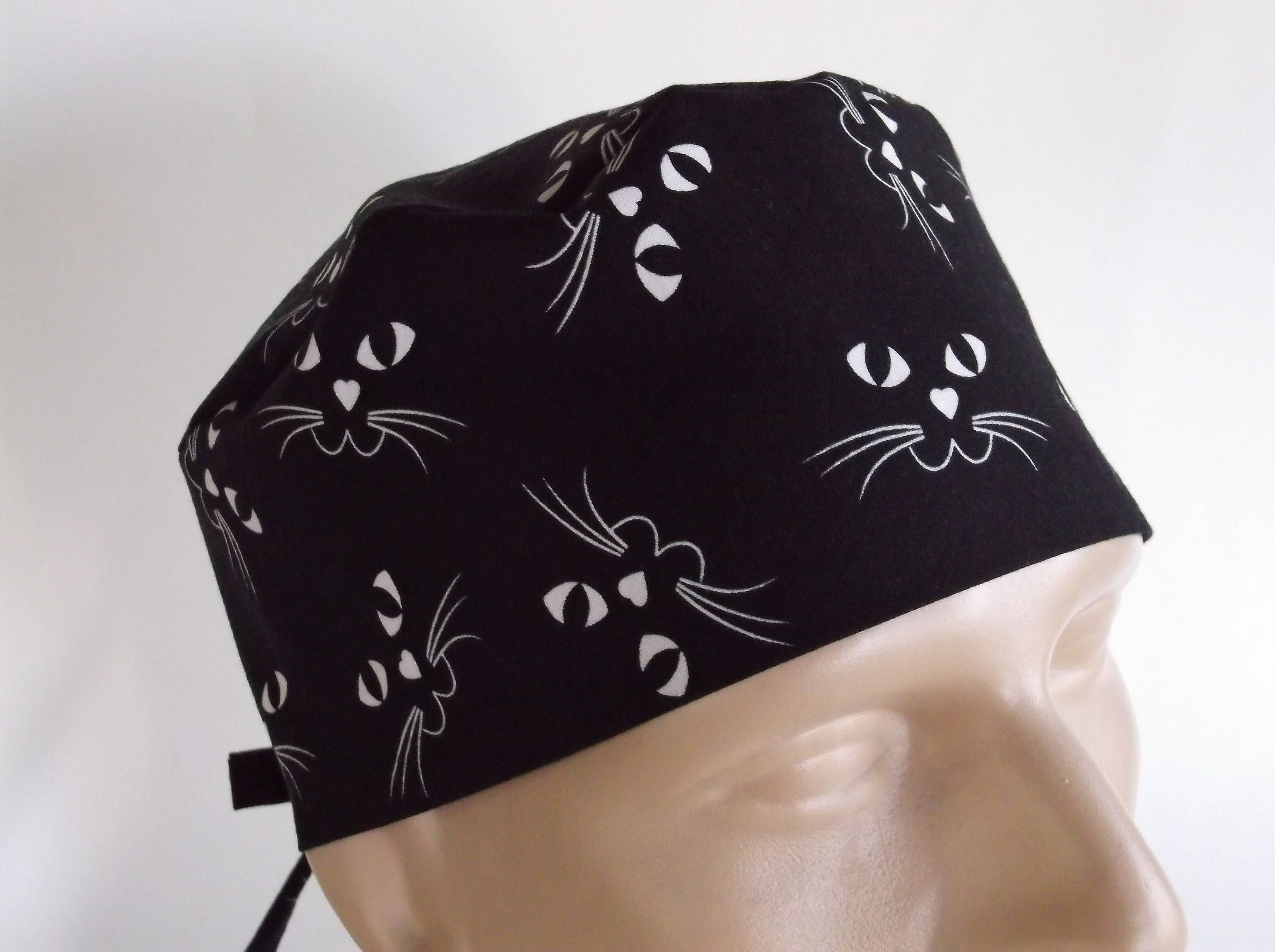 Glow in the Dark Cat Faces Men s Surgical Scrub Hat with sweatband option 164e8f6ff448