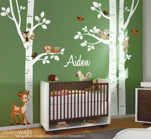 Birch Trees Wall Decal Nursery Wall Decal Forest Trees Wall Decal. White tree childrens decal with yellow and by Littlebirdwalldecals