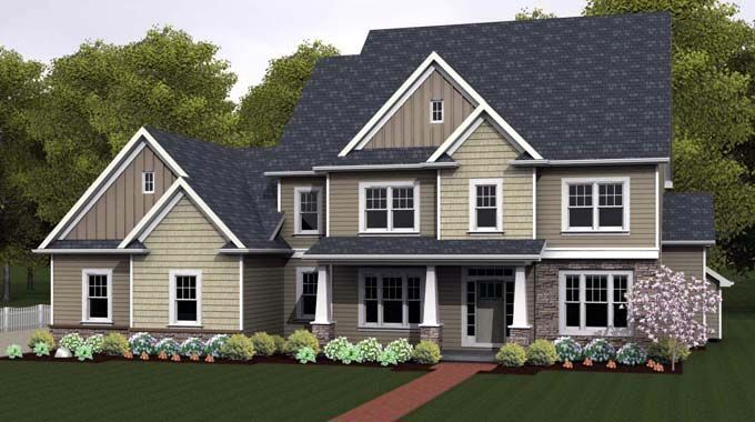 Traditional Style House Plan 54141 With 4 Bed 3 Bath 3 Car Garage Colonial House Plans House Plans Traditional House Plans