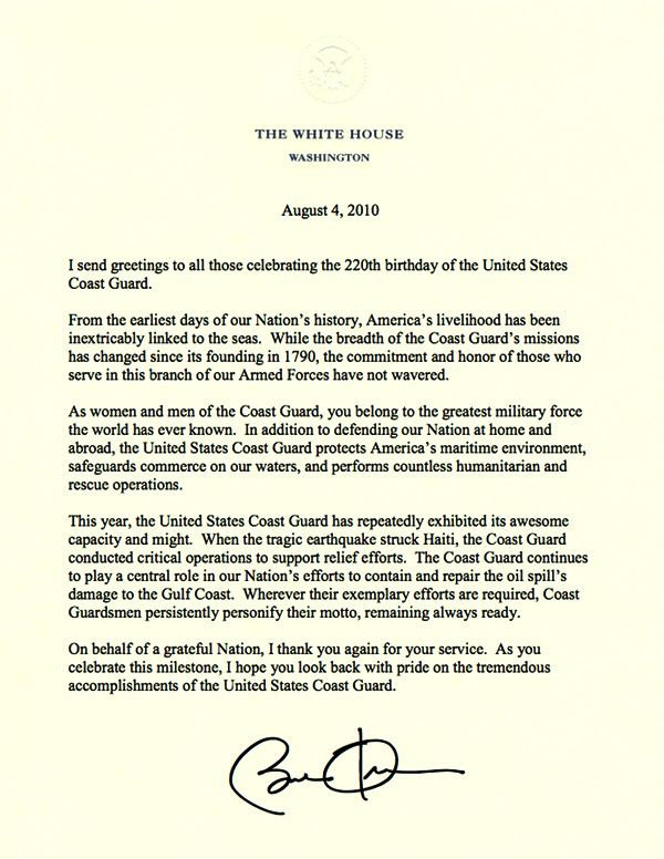 President Obamas letter to the Coast Guard – Presidential Birthday Card