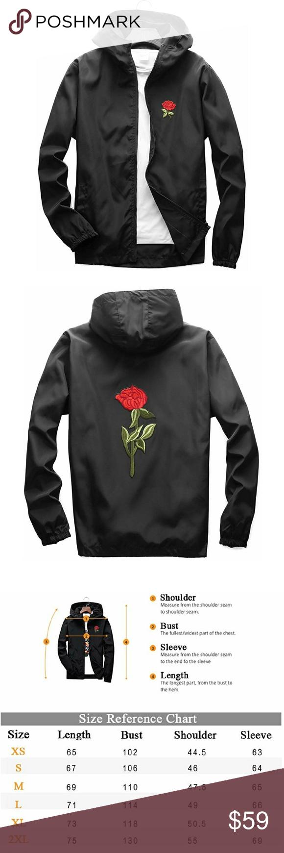 31a6bbb5f9 Rose Floral Windbreaker Rose Floral Jacket Windbreaker for Men Women  Waterproof Windproof College Jackets Jackets & Coats Windbreakers