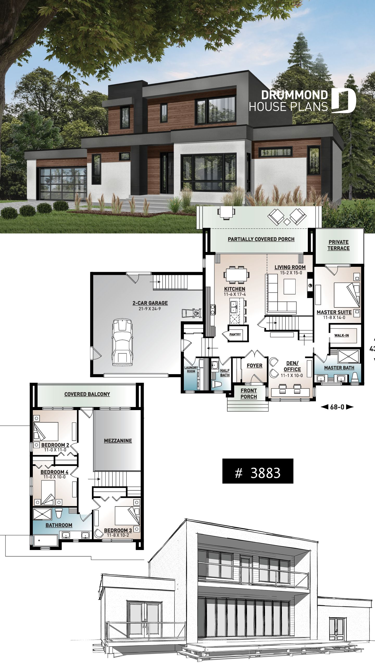 Modern Cubic house plan, master suite, 4 bedrooms, open ...