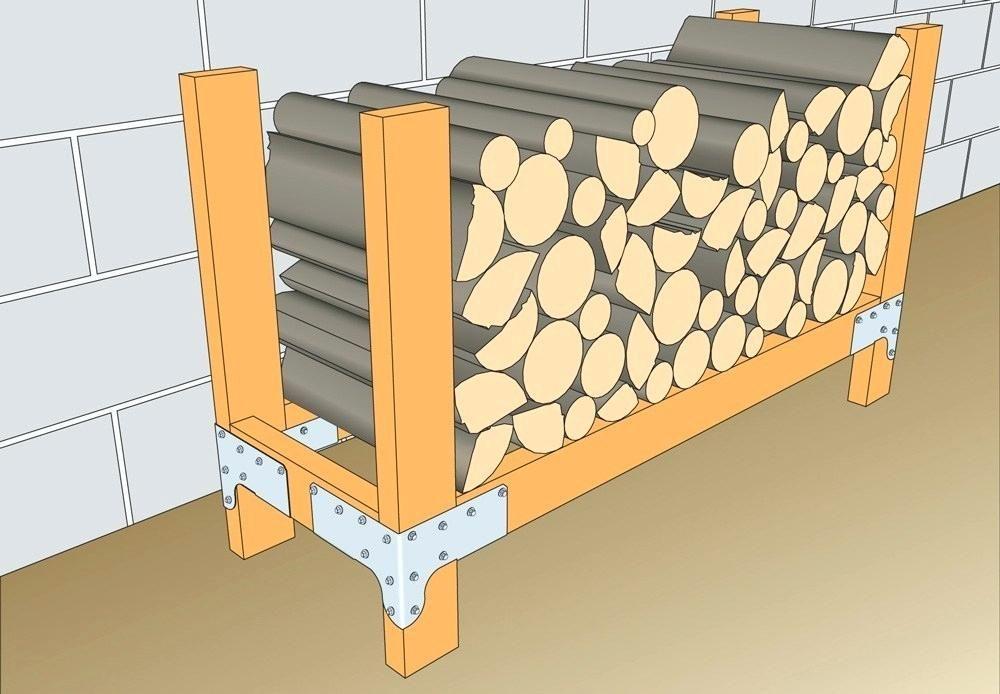 Diy firewood rack no tools storage cinder block with roof