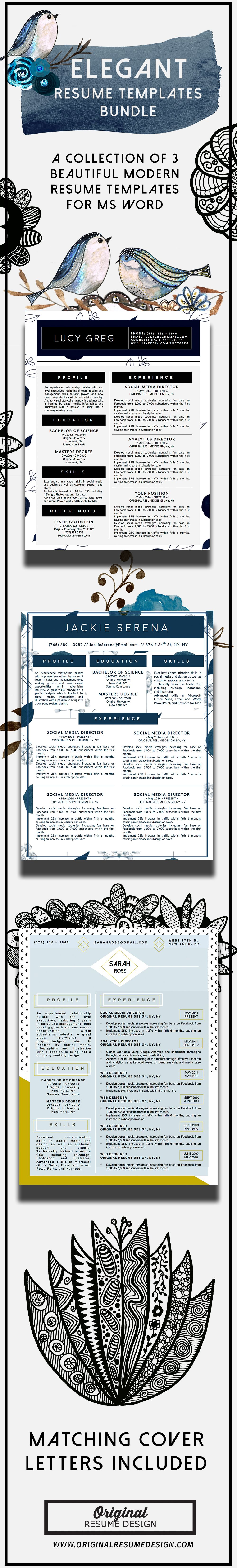A collection of 3 Beautiful Elegant Modern Resume CV Templates with ...