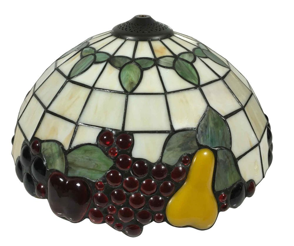 Vintage tiffany style stained leaded glass fruit lamp shade light vintage tiffany style stained leaded glass fruit lamp shade light fixture 16 ebay mozeypictures Image collections