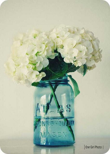 Vintage Blue Mason Jar I Also Have One With Hydrangeas Right Now Mary Wald S Place Hydrangea