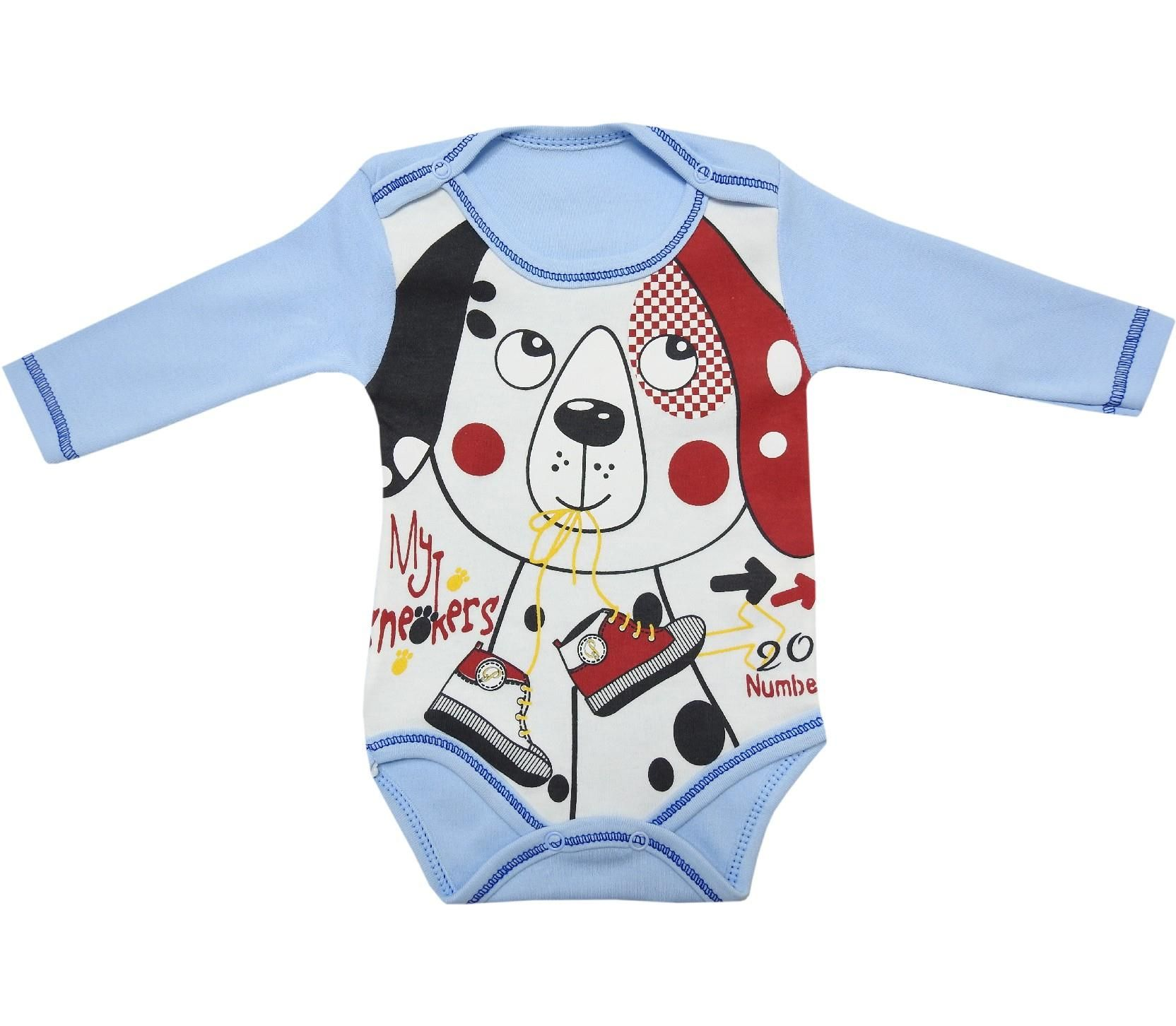 4715 wholesale dog face printed snap fastening bodysuit for baby 3