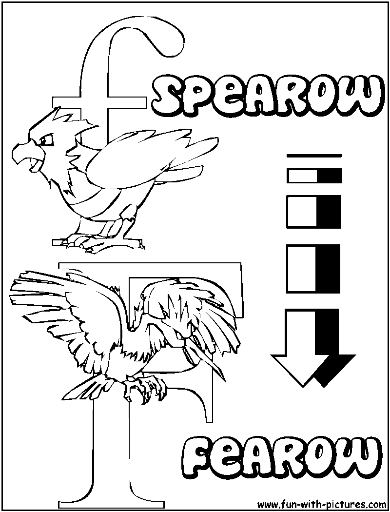 Pokemon coloring pages liepard - F Spearow Fearow Pokemon Alphabets Coloring Pages