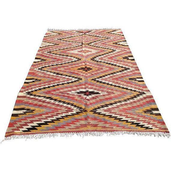 Diamond Design Zigzag Pattern Faded Red Yellow Black White Turkish Kilim Rug Flatwoven Kilim Carpet Area Rug Colorful Kilim Rugs Rugs Turkish Kilim Rugs