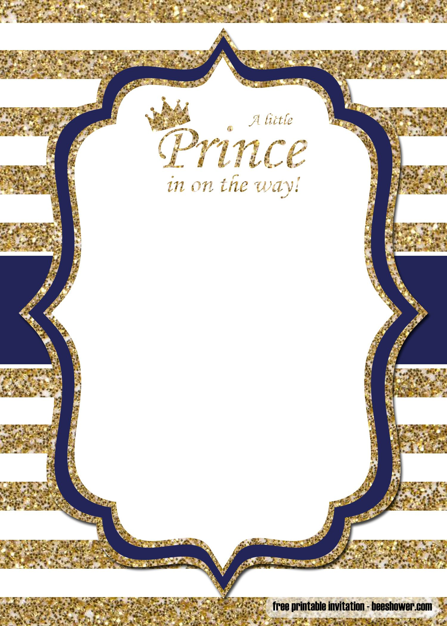 FREE Prince Baby Shower Invitations Templates  Royal baby shower