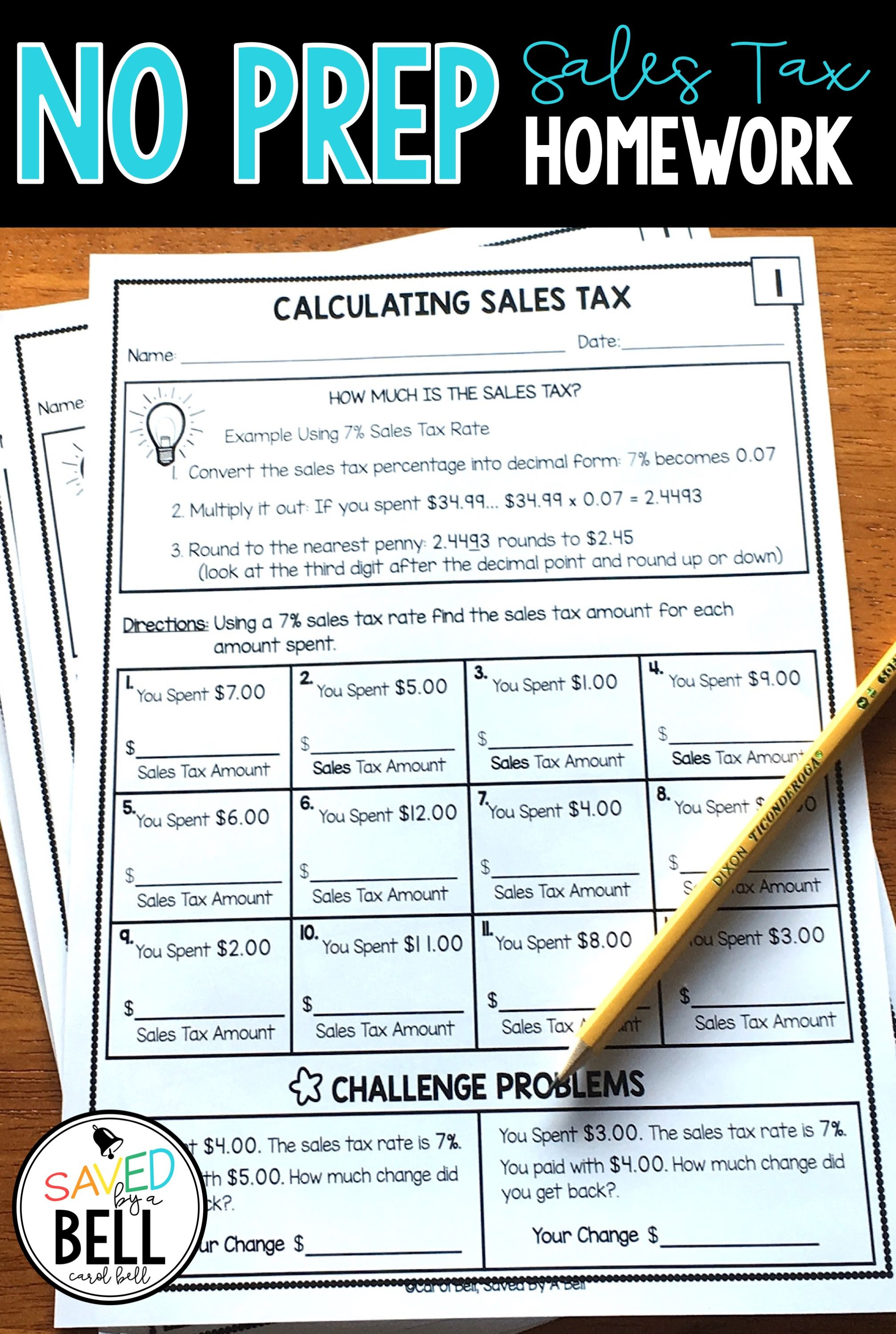Sales Tax Worksheets Distance Learning