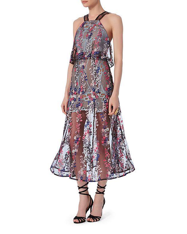 eaa27ed95e Self-Portrait Floral Vine Embroidered Dress  Floral vine embroidery layers  upon a lace lining giving this dress an exuberant feminine look. V straps.