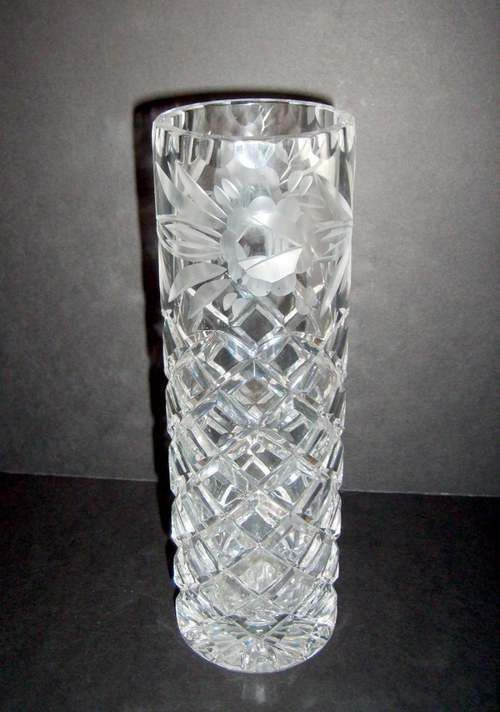 Crystal Cylinder Vase With Engraved Roses Made In Poland Antique