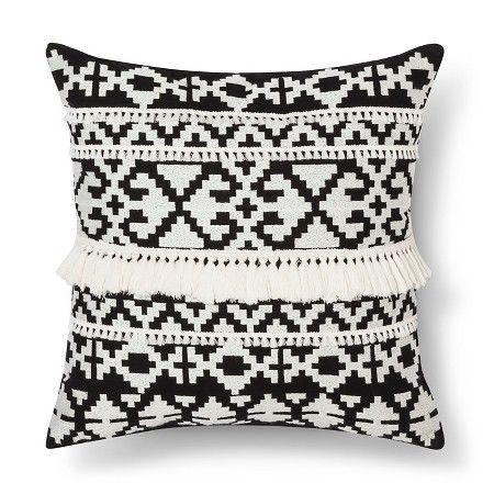 Throw Pillow Black Amp White Tassel Threshold Target White Throw Pillows Throw Pillows Lumbar Throw Pillow