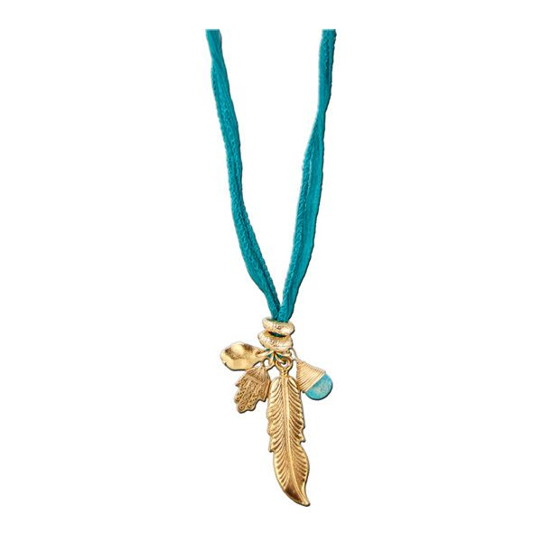 Ettika Feather Medley Charms Silk Necklace ($75) ❤ liked on Polyvore featuring jewelry, necklaces, feather necklace, hamsa hand jewelry, teal jewelry, teal necklace and hand of god necklace
