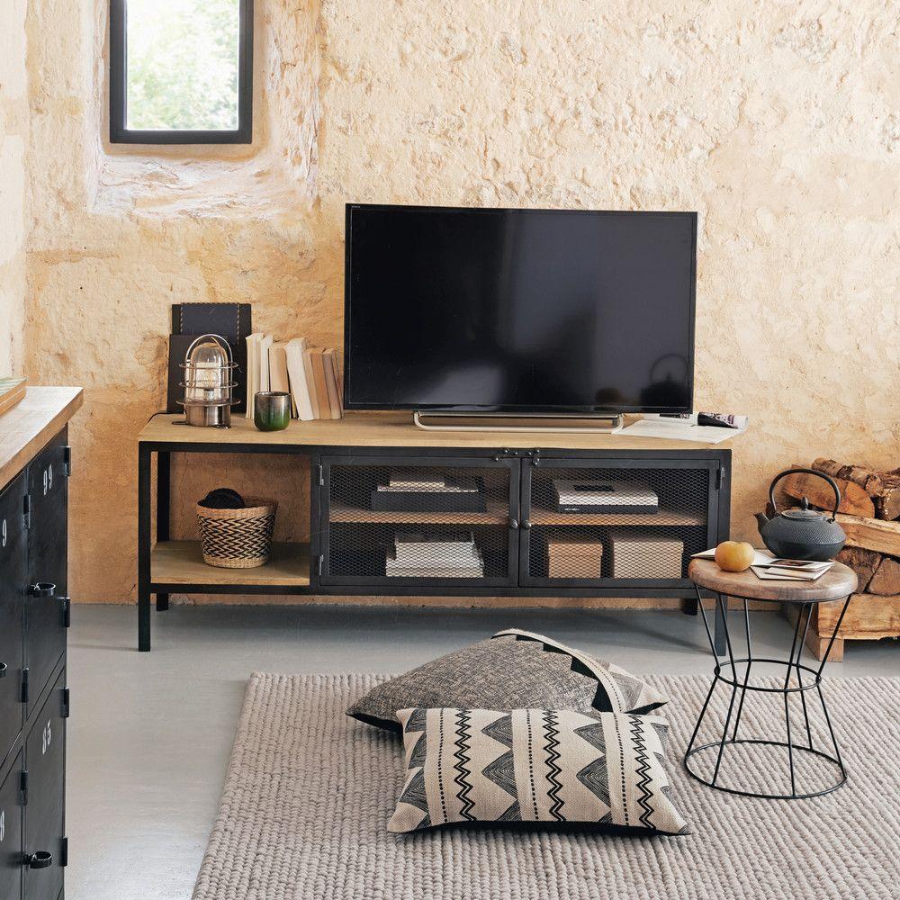 Mueble de tv industrial de metal negro y mango macizo - Mueble tv maison du monde ...