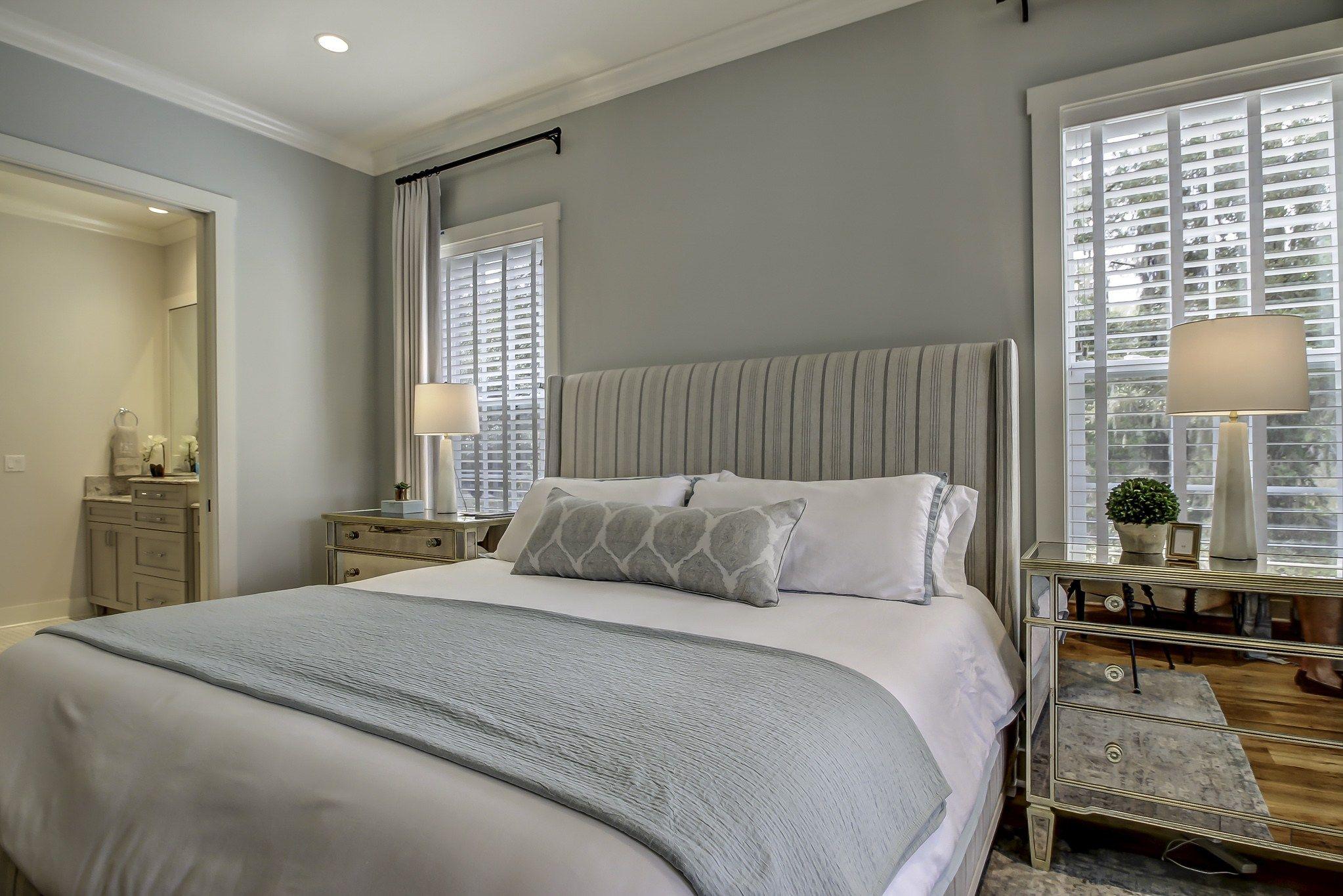 Cool Neutral Master Bedroom With Benjamin Moore Quiet
