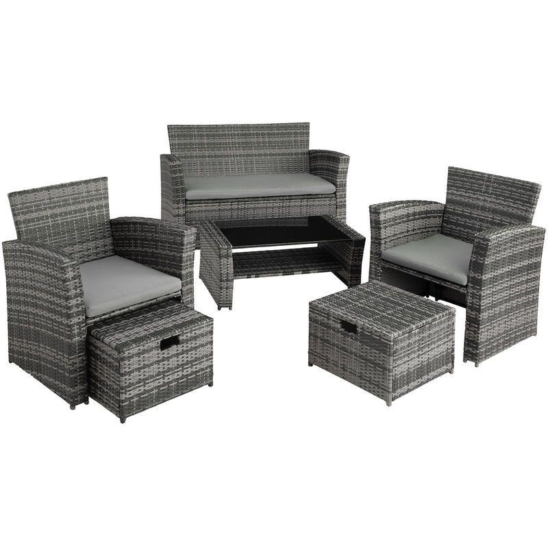 Tectake 403085 Salon De Jardin 2 Fauteuils Et 1 Canape Resine Tressee Et Aluminium 2 Housses De Coussi Outdoor Sofa Outdoor Furniture Furniture Sets