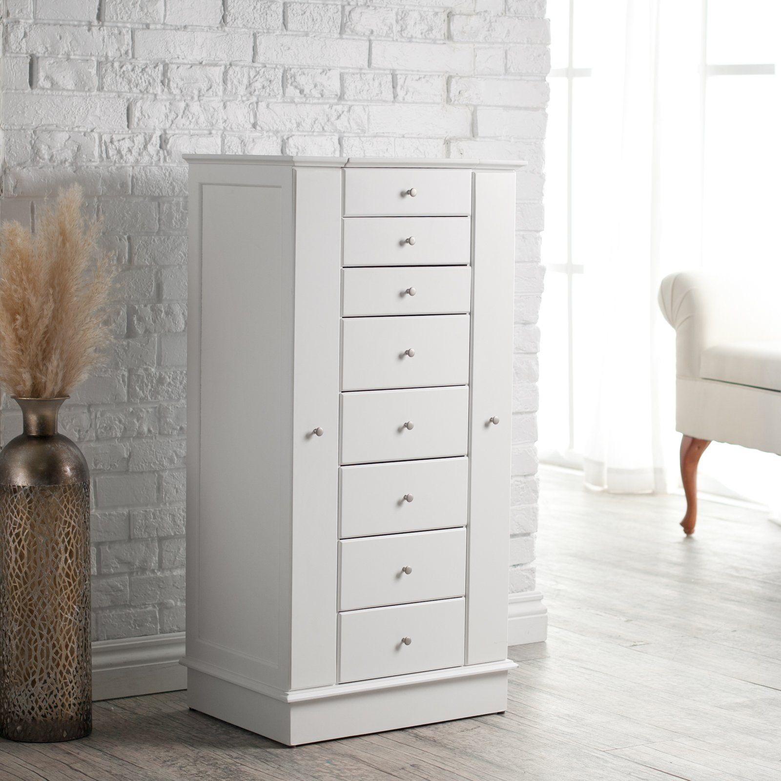 Perfect Exquisite Jewelry Armoire With Quilted Pullout Storage   White $399.98