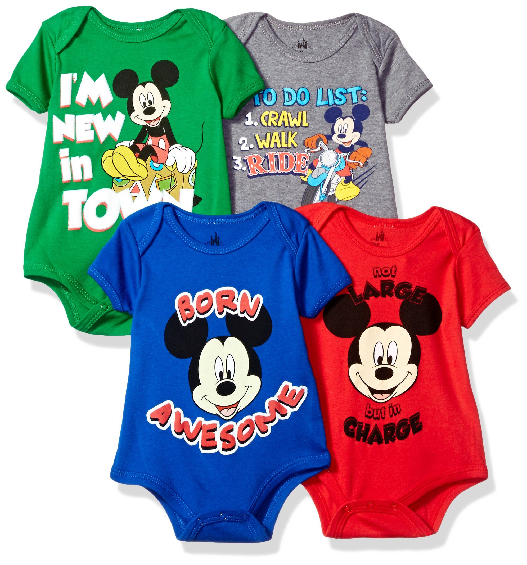 a7fb88306 Disney Baby Mickey Mouse 4-Pack Short Sleeve Bodysuit, Heather  Grey/Royal/Red/Green, 3-6M. Officially licensed. Super soft infant baby  bodysuit creeper.