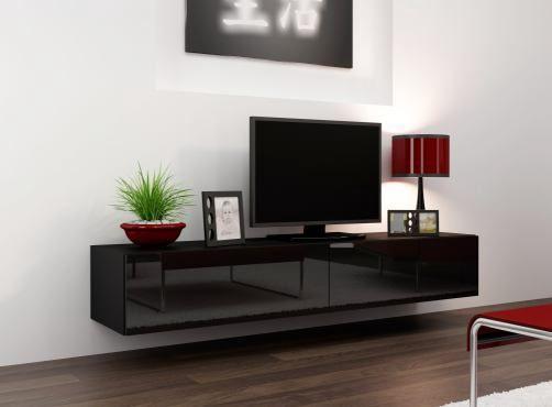 Tv Meubel Zwart Hoogglans.Zwevend Tv Meubel Uitgevoerd In Hoogglans Zwart Modern Tv Wall