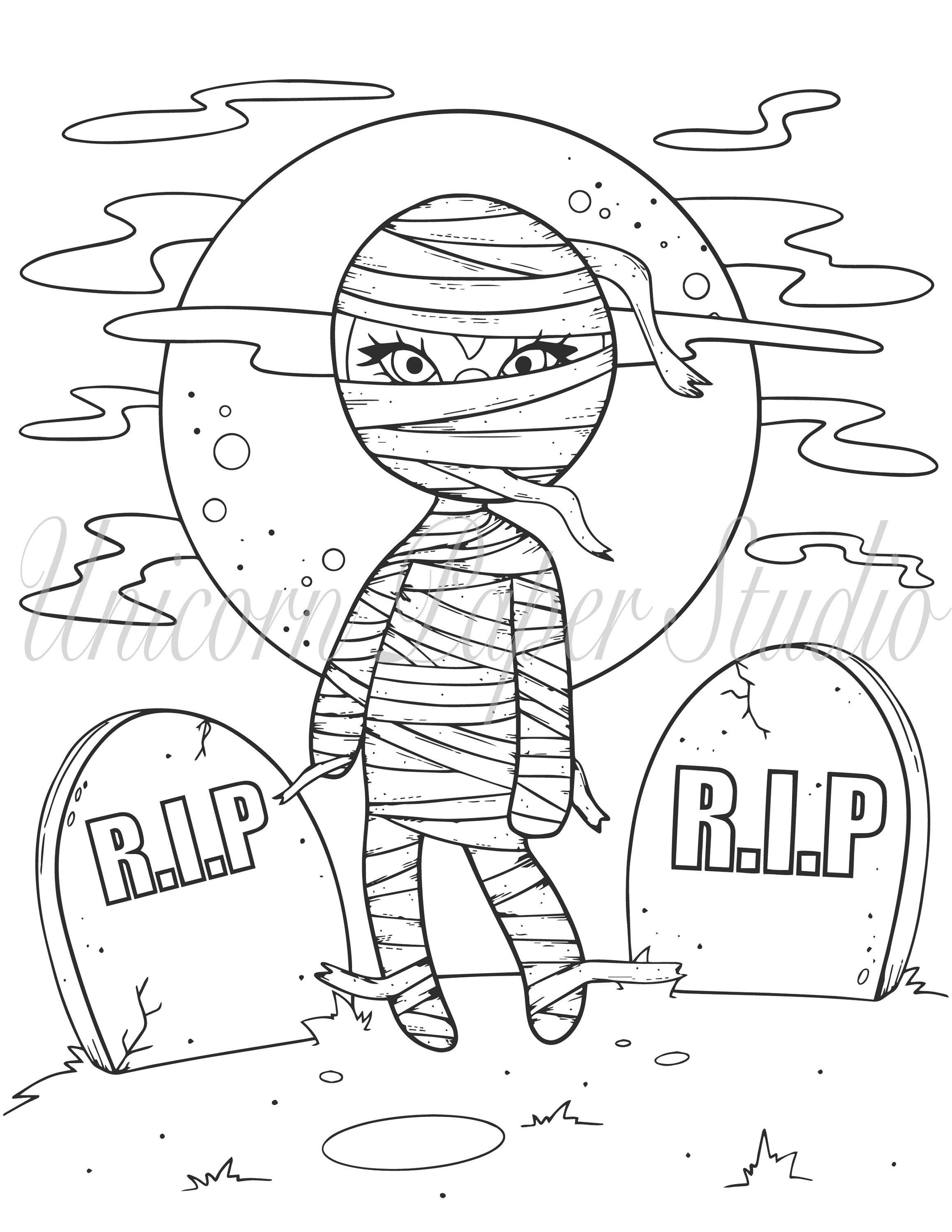 Instant Download Digital Coloring Page Digi Stamp Cute Mummy