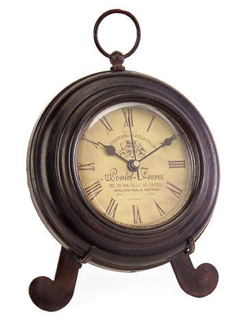 Brown Iron Desk Clock