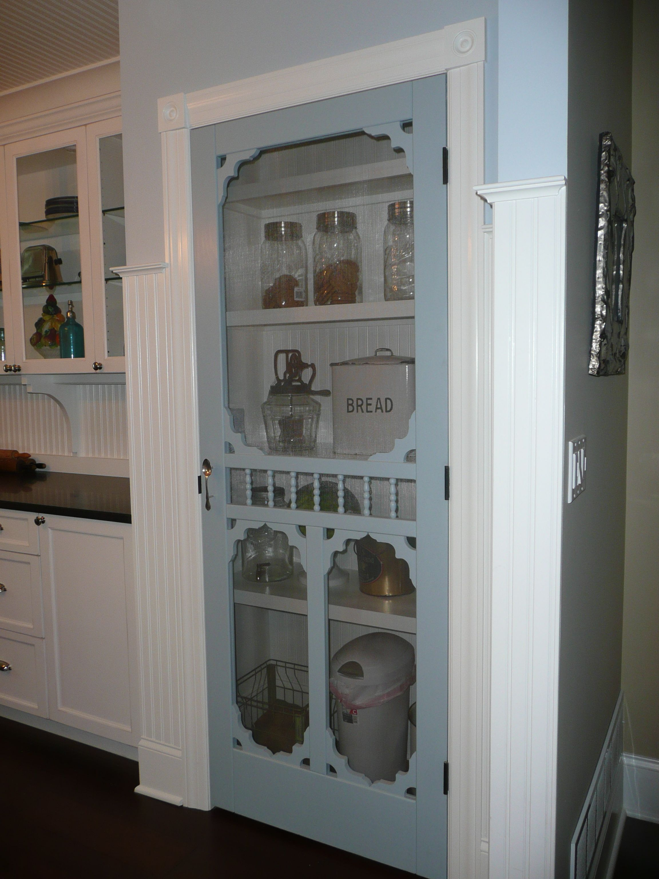 Screen Door Pantry In My Farmhouse Kitchen I Would So Do This If My Pantry Wasn T Cold Storage Aka N Pantry Decor Screen Door Pantry Farmhouse Style Kitchen