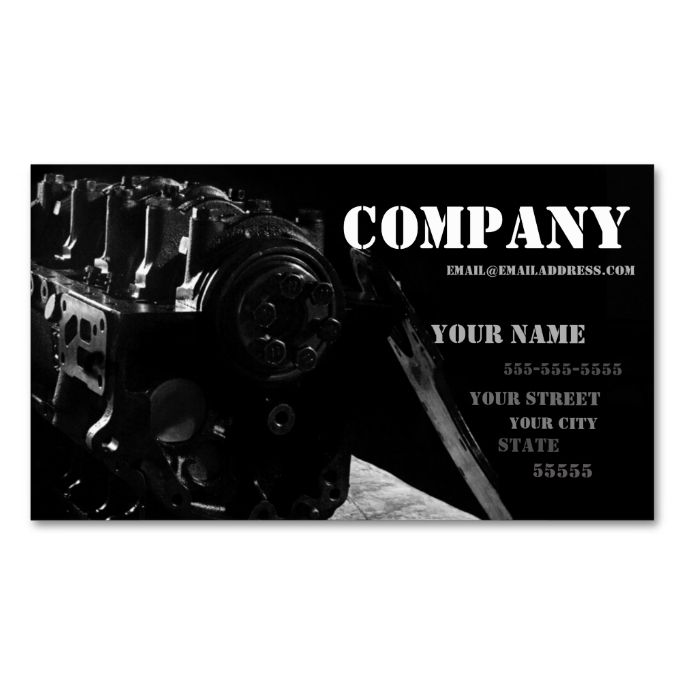 Mechanic's Business Card. This is a fully customizable business card and available on several paper types for your needs. You can upload your own image or use the image as is. Just click this template to get started!