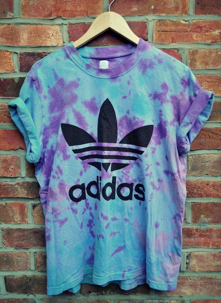 Imagen del vintage tie dye adidas Originals Trefoil camiseta todo lo que