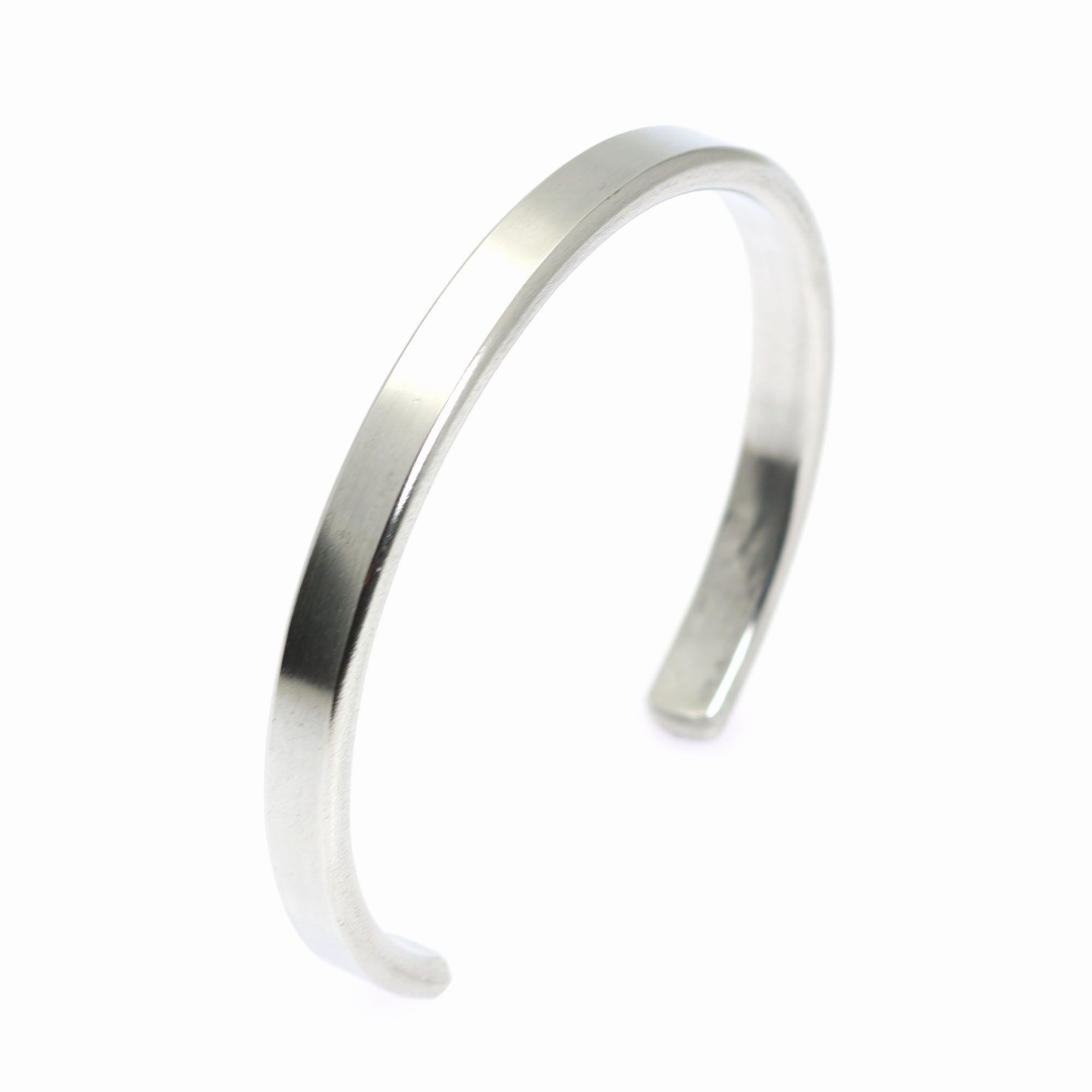 New best mm thin brushed aluminum cuff bracelet showcased by