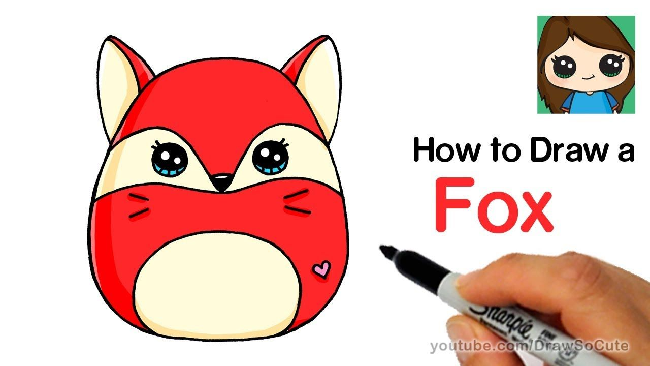 How To Draw A Cute Fox Easy Squishy Squooshems Youtube Fox Drawing Easy Cute Drawings Cute Animal Drawings