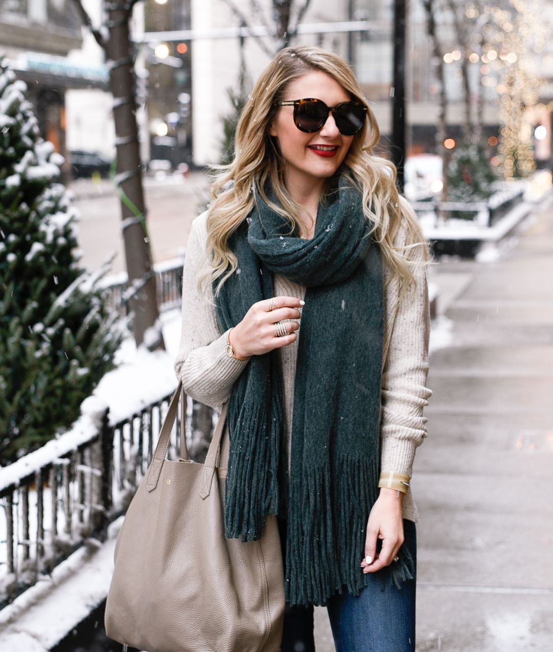 de3d0a3cc64 Dressing up a warm winter outfit with gorgeous jewelry and a cozy green  scarf.  fashion  winter  accessorize