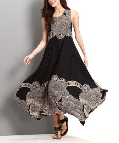 d1c274763f Look at this  zulilyfind! Black   Taupe Cloud Handkerchief Maxi Dress   zulilyfinds