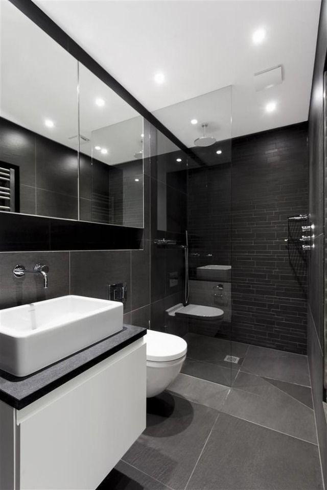 Badezimmer Schiefergrau Anthrazit Fliesen Begehbare Dusche Glaswand |  Badezimmer | Pinterest | Tv Bracket, Modern Minimalist And Basin