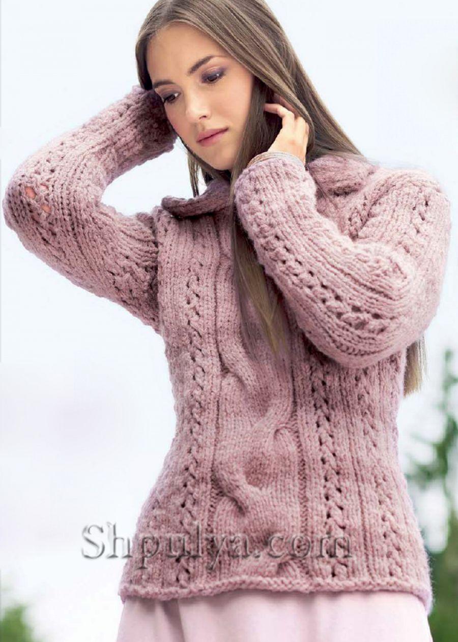 Розовый пуловер с отложным воротником, вязаный спицами