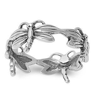 2dcfdd467e6e Polished Sterling Silver Dragonfly Ring StarShine Jewelry