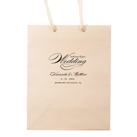 Welcome To Our Wedding Hotel Guest Bags Personalized Favors Foil Stamped Paper Tote Gift