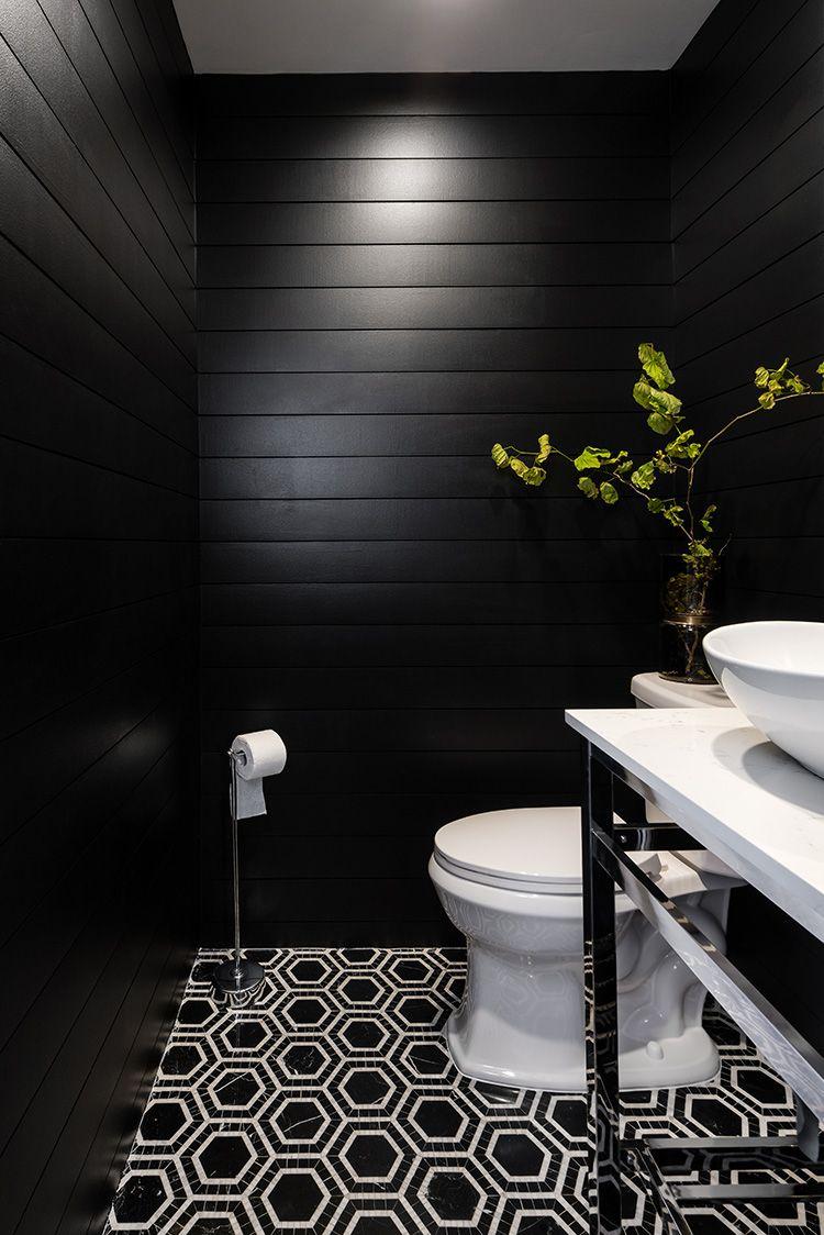 Create A Modern Powder Room Using Black Shiplap Black Tile Bathrooms Black Powder Room White Bathroom Tiles