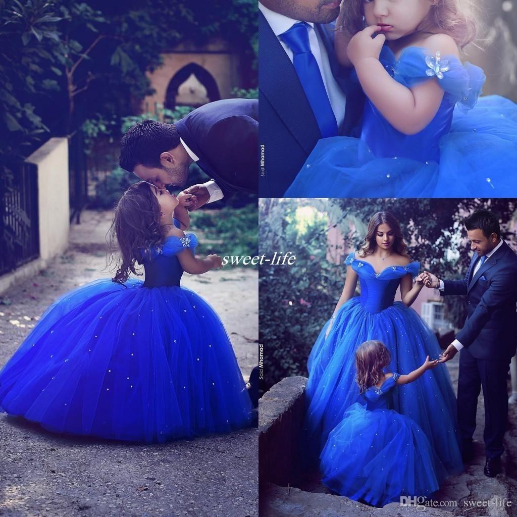 Royal blue princess wedding flower girl dresses puffy tutu off