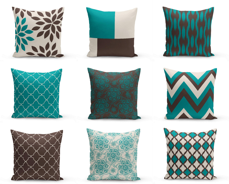teal brown pillows pillow covers teal