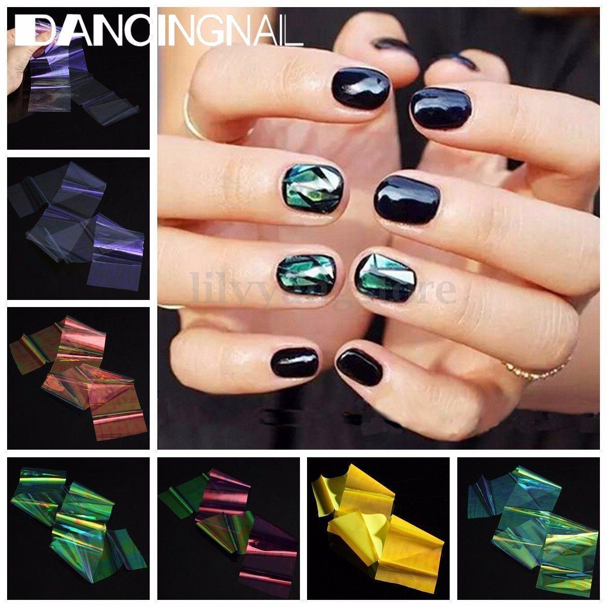 Fashion 6 Colors Broken Glass Foils Finger DIY Nail Art Stencil ...