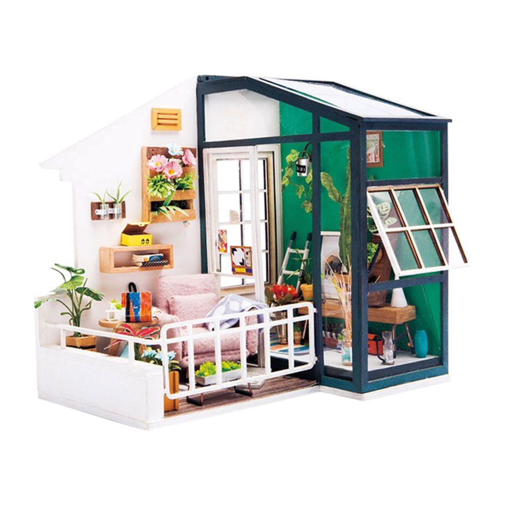 Robotime DIY Miniature Balcony Kit Lighted Dollhouse Model Kit