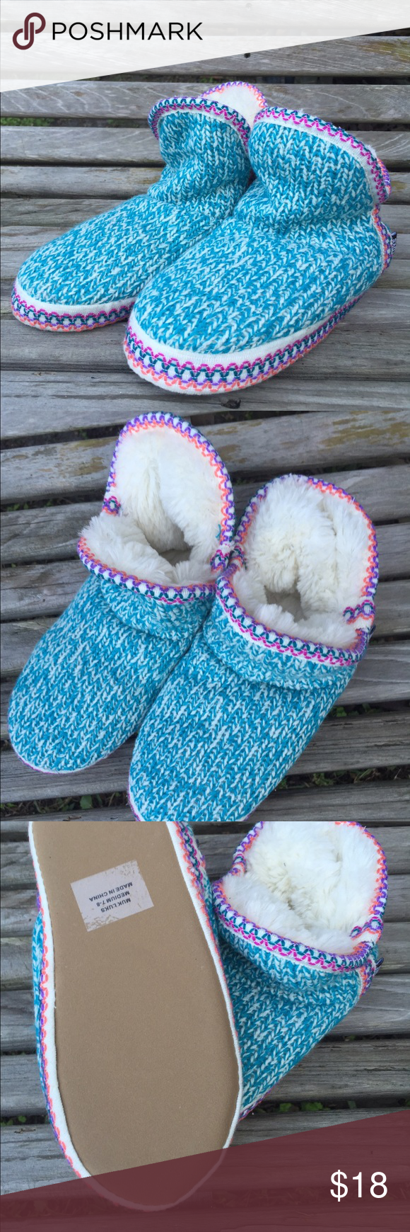 Cozy slippers! Never worn- size 7-8 and were a little too small for me. Muk Luks Shoes Slippers
