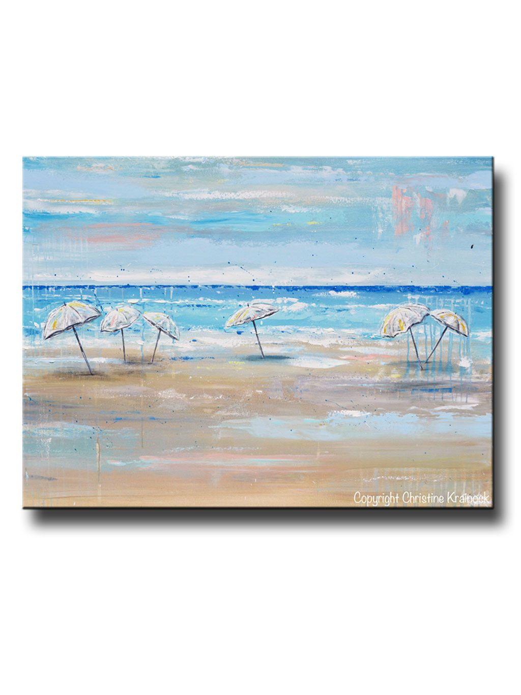 Original art abstract painting beach umbrellas blue white aqua beige