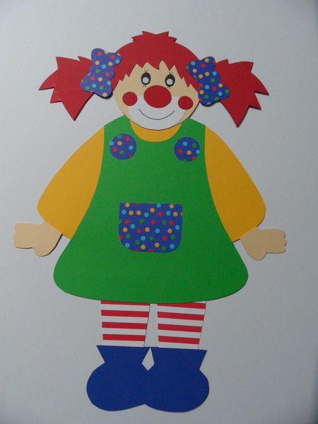 S es clown m dchen aus fotokarton und nat rlich - Clown basteln kindergarten ...