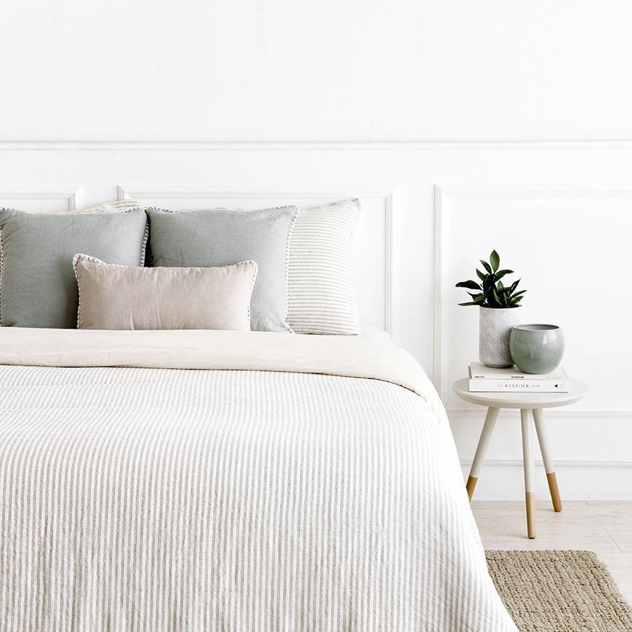 Sense funda nórdica de lino a rayas cama 150 | Fundas