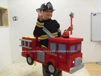 cool homemade fireman and fire truck halloween costume - Fire Girl Halloween Costume